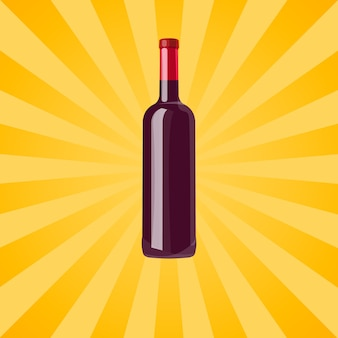 Bottle of red wine on yellow with rays