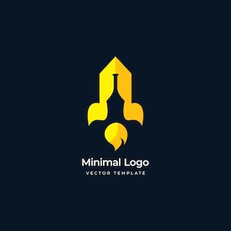 Bottle and rocket versatile logo template vector illustration