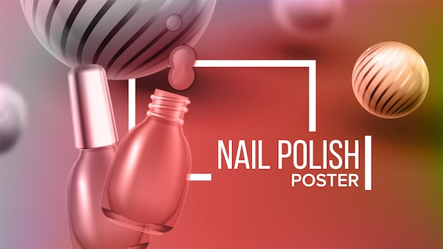 Bottle of rose nail polish product banner