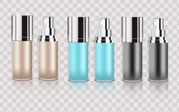 Набор бутылок косметические пустые флаконы спрей упаковка для жидких лекарств прозрачные бутылки шаблон Premium векторы