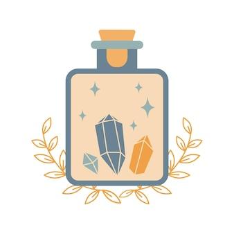 魔法のエリクサーまたは白い背景で隔離の結晶と毒のボトルのシルエット。自由奔放に生きるポーションボトルのシルエット。オカルトベクトルイラスト。錬金術のデザイン要素。秘教の神秘的なポスター