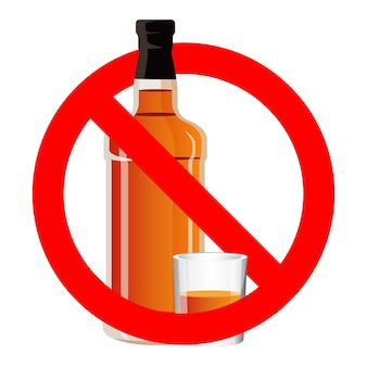 Bottle of spirit drink and stemware in no alcohol allowed sign. no drinking sign prohibiting alcohol beverages. ban wine and drink prohibition sign icon illustration. no binge icon stop alcohol