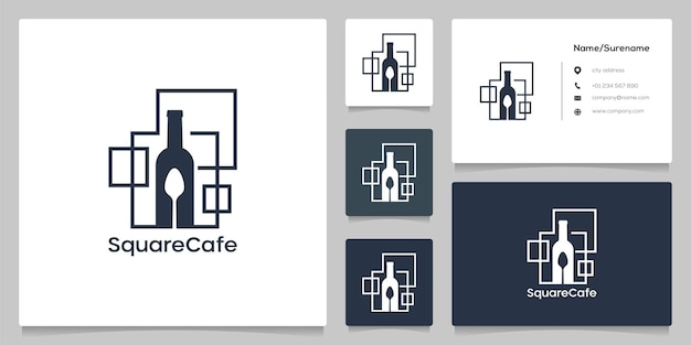 抽象的な正方形のグラフィックカフェレストランのロゴデザインのボトルスプーン