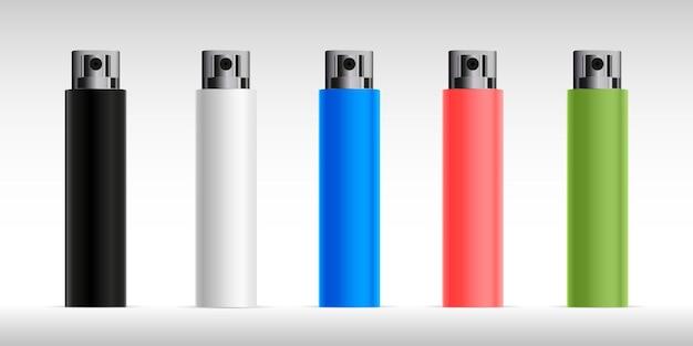 透明キャップ付き香水カラフルなデザインコレクションのボトルスプレーセットモックアップフラコン