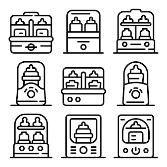 Bottle sterilizer icons set