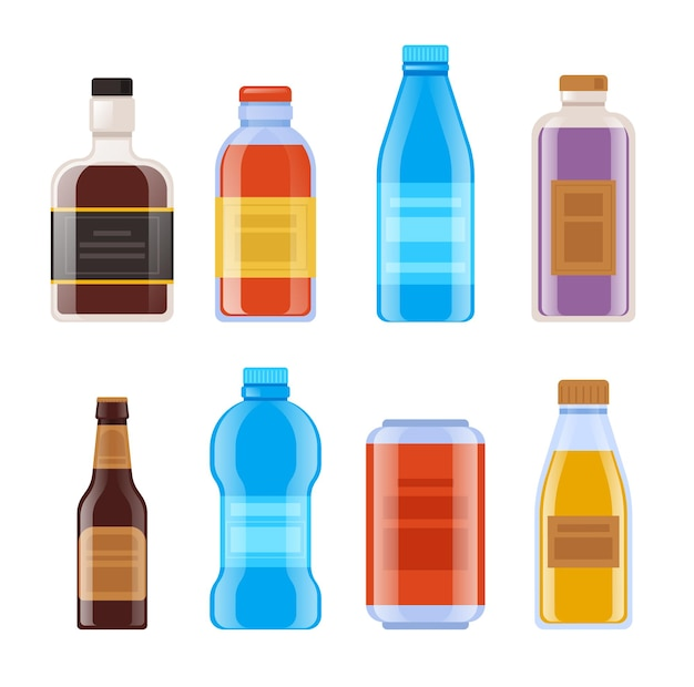 Bottle template mock isolated set.
