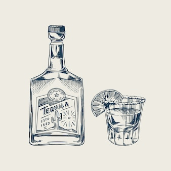Bottle of tequila glass shot with lime and label for retro poster or banner. engraved hand drawn vintage sketch. woodcut style.  illustration.