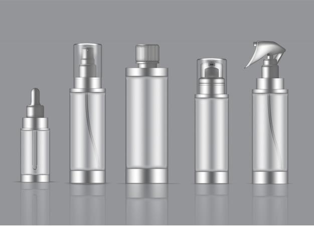 Bottle transparent realistic skincare product spray, foam soap, dropper
