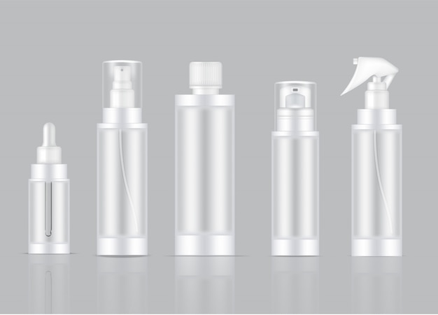 Bottle transparent realistic skincare product spray