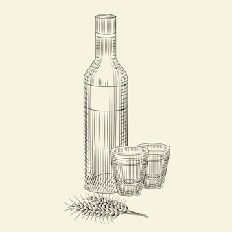 Bottle of vodka and two full shot drink. hand drawn alcohol glass bottle sketch isolated