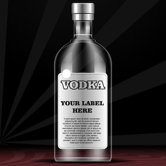 Bottle for vodka with label