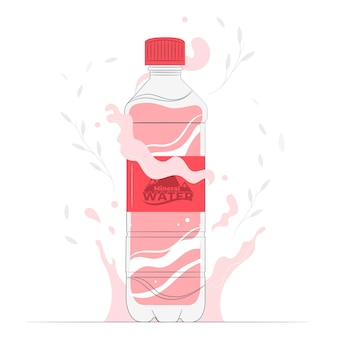 Eat healthy and stay healthy Bottle of water concept illustration