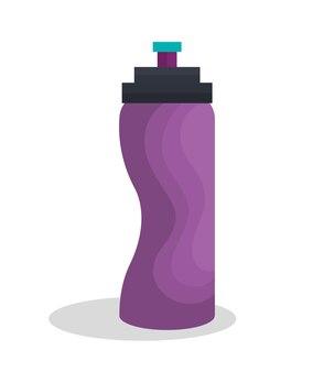 Бутылка воды тренажерный зал изолированных значок векторной иллюстрации дизайн