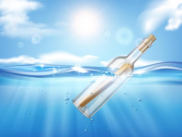 Bottle in wave realistic illustration