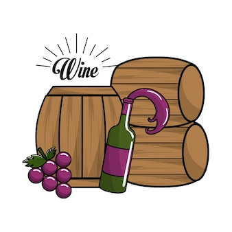 Bottle of wine, barrel and grape icon