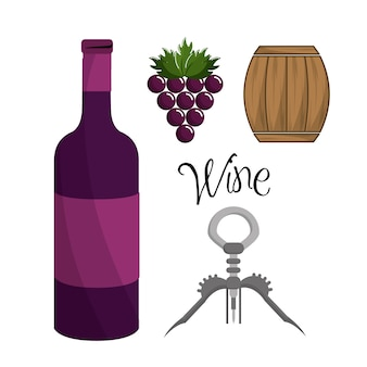 Bottle of wine, grape, barrel and take out cork