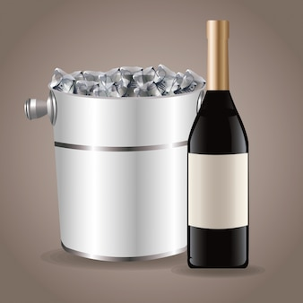 Bottle wine ice bucket drink
