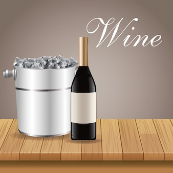 Bottle wine ice bucket wooden