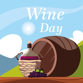 Bottle of wine in wicker basket, label wine day