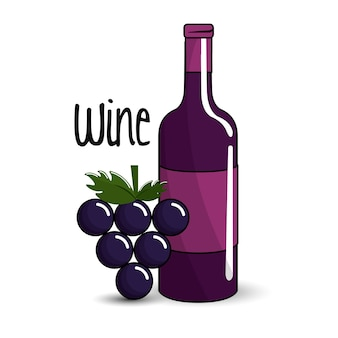 Bottle of wine with bunch of grapes icon