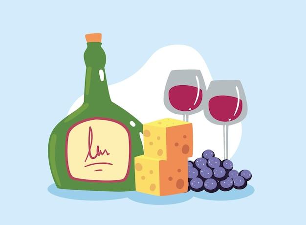 와인 잔과 치즈 부분이 있는 병 와인
