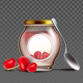 Bottle with cherry berries jam and spoon vector