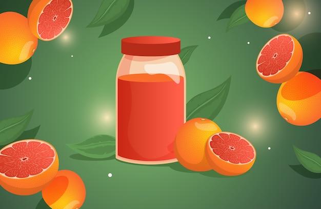 A bottle with grapefruit juice