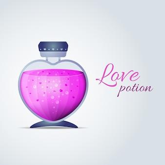 심장 모양의 분홍색 액체와 병. 발렌타인 데이 카드에 대한 사랑의 묘약. 벡터 일러스트 레이 션