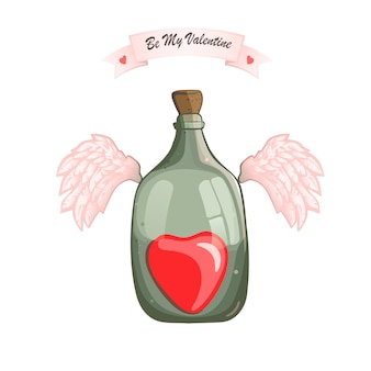Bottle with heart for valentine's day