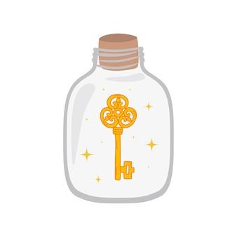 Бутылка с ключом внутри. концепция защиты паролем. векторные иллюстрации, изолированные на белом фоне.