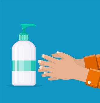액체 비누와 손이 있는 병. 남자는 손, 위생을 씻습니다. 샤워 젤 또는 샴푸. 평면 스타일의 products.vector 그림을 청소하기 위한 디스펜서가 있는 플라스틱 병