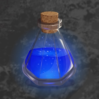 Bottle with orange potion. game icon of magic elixir.
