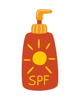 Bottle with sunscreen. spf cream. sun protection. time interval sunblock with spf uva uvb. summer cosmetic. sun safety. vector illustration in flat style isolated on white background