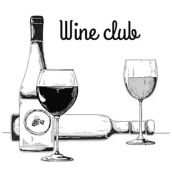 Бутылка с вином и фужером. текст винный клуб. иллюстрация.