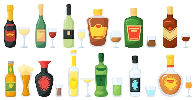 Bottles of alcoholic drinks with glasses illustration