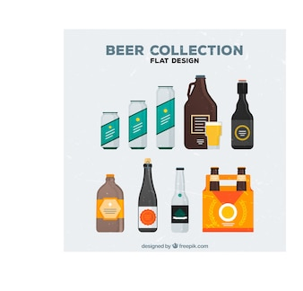 Bottles and cans of beer set