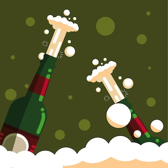 Bottles of champagne isolated icon