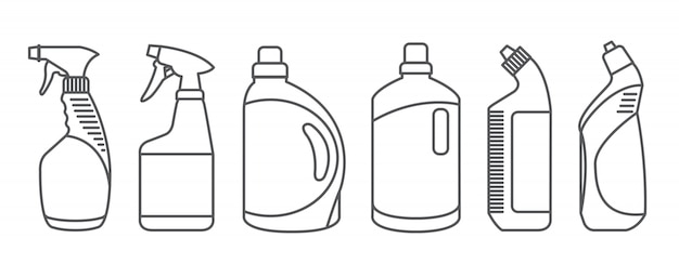 Bottles of cleaning products.