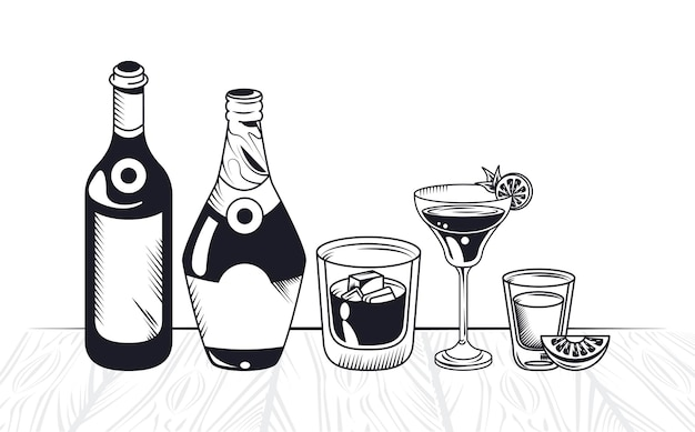 Bottles and cups alcoholic beverages