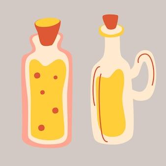 バターやソースの手描きスタイルのボトル。オリーブオイルとココナッツオイルとバター、リンゴ酢のボトル入り。分離された漫画のベクトルアイコン。