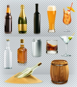 Bottles and glasses alcohol drink. 3d  icons set