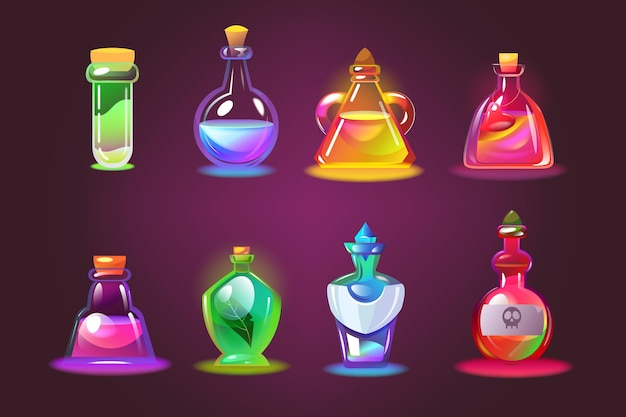 Bottles of magic potions set. cartoon jars with love elixir, glass chemical vials with corks on dark purple background.