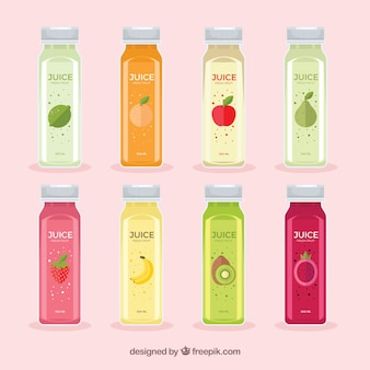 Bottles of delicious juices