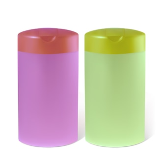 Бутылки шампуня или лосьона. иллюстрация содержит градиентную сетку.