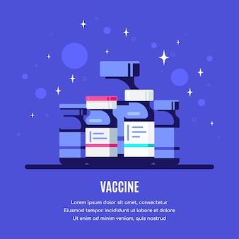 Бутылки вакцины на синем фоне. медицинское лечение, разработка вакцины и концепция вакцинации. плоский стиль.