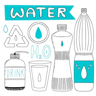Бутылки с водой и иконки рециркуляции. иллюстрированная коллекция с бутылками воды и чашкой. набор рисованной.