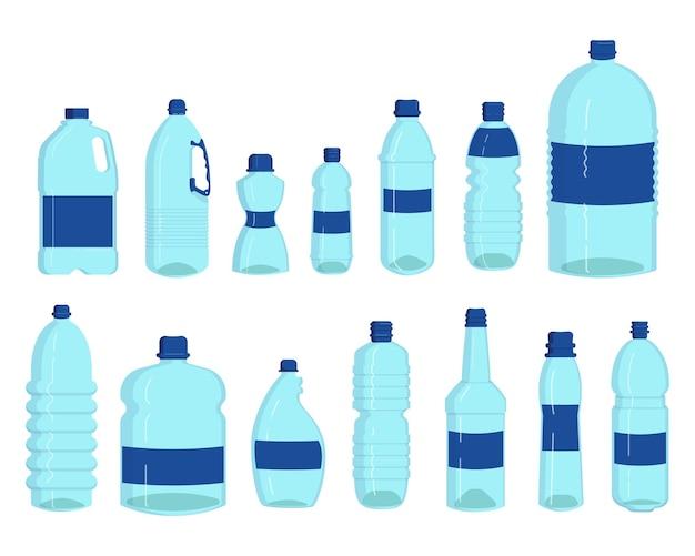 Набор бутылок с водой. пластиковые контейнеры для жидкости, прозрачные фляги для напитков, литр, изолированные на белом. иллюстрации шаржа