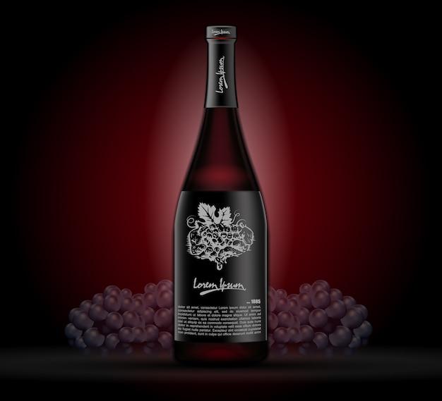 暗い背景にワインのボトル。