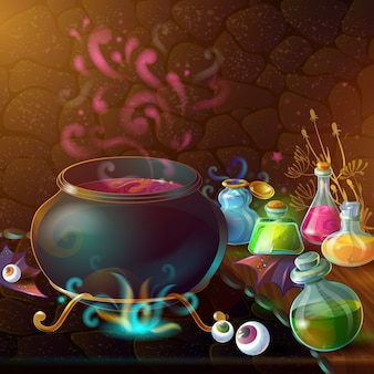 Bottles of potions and cauldron