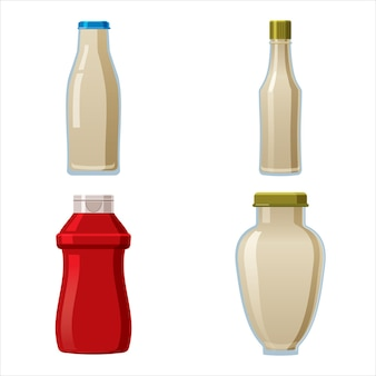 Bottles sauce set wasabi ketchup mayonnaise creamy sauces food template mock up plastic packaging